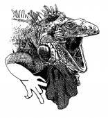 Unusual original artwork of iguana lizard with mouth open — Stock Vector