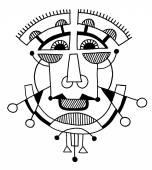 Ongewone hand tekenen illustratie met een mannelijke gezicht portret in flat — Stockvector