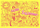 Set of sketch design element summer theme with lettering Hello S — Stock Vector