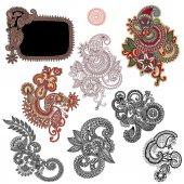 Line art ornate flower design collection, ukrainian ethnic style — Stock Vector