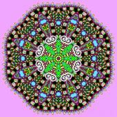 Süs geometrik bardak altlığı peçete deseni yuvarlak daire dantel süs — Stok Vektör