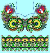 Neckline ornate floral paisley embroidery fashion design, ukrain — Wektor stockowy