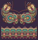 Neckline ornate floral paisley embroidery fashion design, ukrain — Stock Vector
