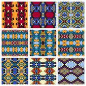 Set of  different seamless colored vintage geometric pattern — Cтоковый вектор