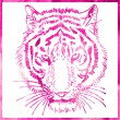 Head of tiger is in a watercolor artwork in pink color, portrait — Stock Vector #54820877