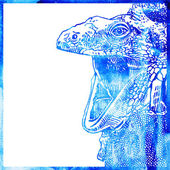 Watercolor animal background in a blue color, head of lizard wit — Stock Vector