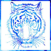 Head of tiger is in a watercolor artwork in a blue color, portra — Stock vektor