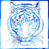 Head of tiger is in a watercolor artwork in a blue color, portra — Vector de stock
