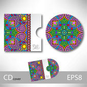CD cover design template with ukrainian ethnic style ornament fo — Stock Vector