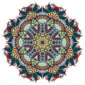 Circle lace ornament, round ornamental geometric doily pattern — Wektor stockowy