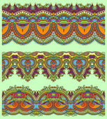 Coleção de listras florais ornamentais sem emenda — Vetorial Stock