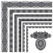 Grey set of seamless ornamental floral stripes, black and white — Stock Vector #54947609