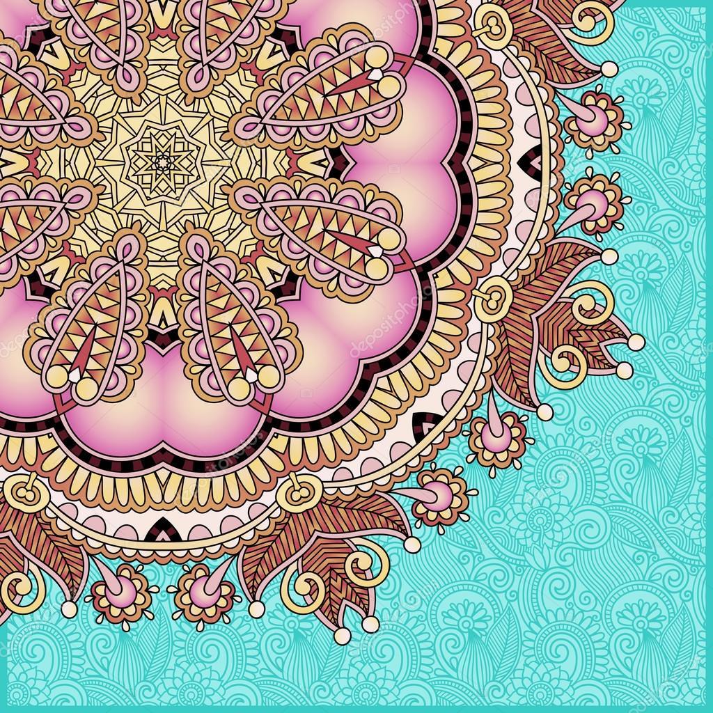卡, 老式花边桌巾, 矢量图模板框架设计的圆形花纹— vector by