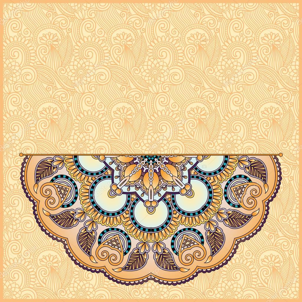 您的贺卡或请柬,卡, 老式花边桌巾, 矢量图模板框架设计的圆形花纹—