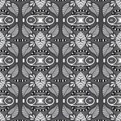 Grey geometry vintage floral seamless pattern — Stock Vector