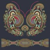 Výstřih ozdobený květinovými paisley výšivky módní design, ukrain — Stock vektor