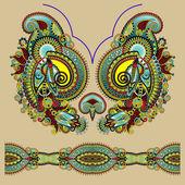 Hals sierlijke floral paisley borduurwerk modevormgeving, oekraïne — Stockvector