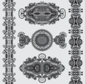 Grey ornamental floral adornment, black and white collection — Stock Vector