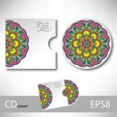 Modèle de conception de la couverture de cd avec ornement de style ethnique ukrainien — Vecteur