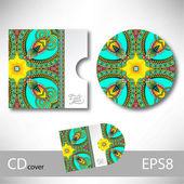 CD cover design template with ukrainian ethnic style ornament — Stockvektor