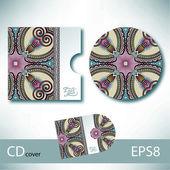 CD cover design template with Ukrainian ethnic style — Stockvektor