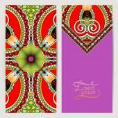 Decorative label card for vintage design, ethnic pattern — Stock Vector