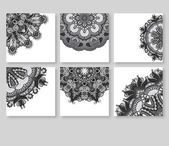 Grey set of decorative floral greeting cards in vintage style, e — Stock Vector