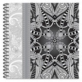 Grey design of spiral ornamental notebook cover — Vector de stock