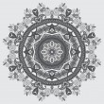 Grey circular decorative geometric pattern for yoga fashion desi — Stock Vector #55272085