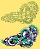 Original part dessiner conception de fleur ornée ligne art. trad ukrainien — Vecteur