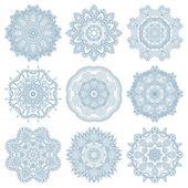 Set of circle winter ornament, round geometric pattern, christma — Stock Vector