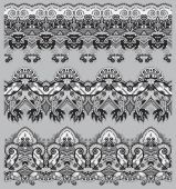 Grey collection of seamless ornamental floral stripes — Stock Vector