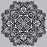 Grey circular decorative geometric pattern for yoga fashion desi — Stock Vector #55312263