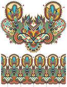 ネックライン華やかな花ペイズリー刺繍ファッション ・ デザイン、ukrain — ストックベクタ