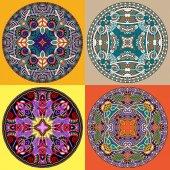 Set decorative design of circle dish template — Stock Vector