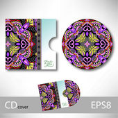 CD cover design template with ukrainian ethnic style ornament fo — Wektor stockowy