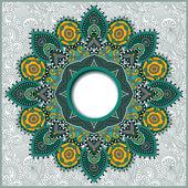Round ornamental frame, circle floral background, mandala patter — Stock Vector
