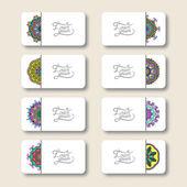 Collectie van decoratieve bloemen visitekaartjes, oosterse patroon — Stockvector