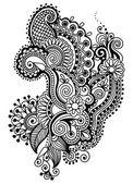 Black line art ornate flower design collection, ukrainian ethnic — Stock Vector