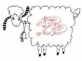 Happy new year design card with goat or sheep, chinese lunar sym — Stock Vector