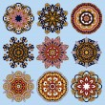 ornamento di pizzo cerchio, rotondo ornamentali geometriche Centrino modello c — Vettoriale Stock  #55537127