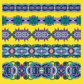 Collection of seamless ornamental floral stripes — Cтоковый вектор
