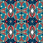シームレスなジオメトリ ビンテージ パターン、エスニック スタイルの装飾的な背景に隠れて — ストックベクタ