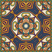 Traditional ornamental floral paisley bandanna. You can use this — Stockvektor