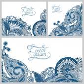 Set of floral decorative background, template frame design for c — Stock Vector