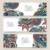 Set of three horizontal banners with decorative ornamental flowe — Vecteur