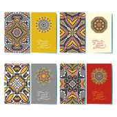 装飾用花名刺、東洋パターンのコレクション — ストックベクタ