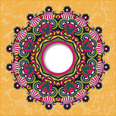 Round ornamental frame, circle floral background, mandala — Stockvektor