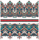 Seamless ethnic floral paisley stripe pattern, border set — Stockvector