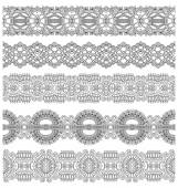 Collection of seamless ornamental floral stripes, black and whit — Stockvector